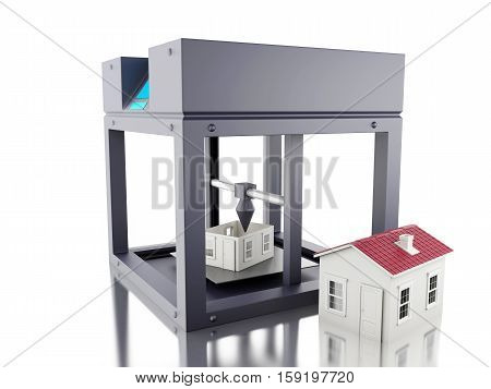 3D Illustration. Three dimensional printer prints a house. New technology concept. Isolated white background.