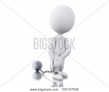 3d renderer image. Punished criminal tied with iron ball. Isolated white background.