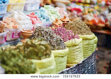 Herbs And Dry Flowers On A Traditional Moroccan Market