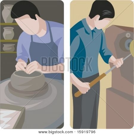 A set of 2 vector illustrations of workers. 1) Potter making a pot. 2) Turner at work.