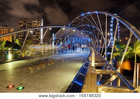 The Helix Bridge In Singapore.