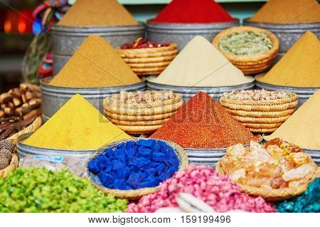 Selection Of Spices On A Traditional Moroccan Market In Marrakech, Morocco
