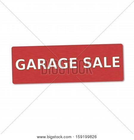 garage sale white wording on red wood background
