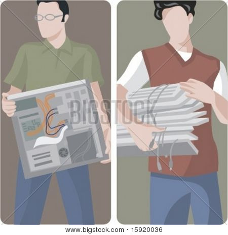 A set of 2 vector illustrations of IT technicians.