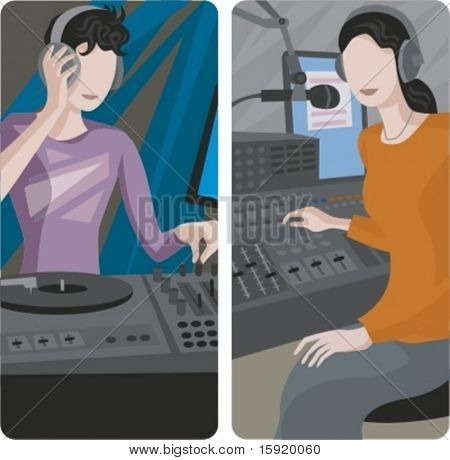A set of 2 vector illustrations of sound mixing operators.