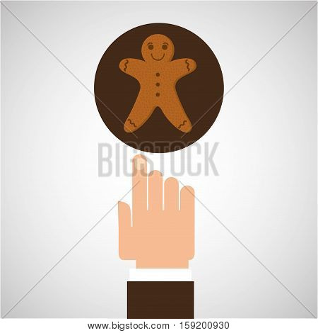 hand with ginger man cookie vector illustration eps 10