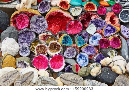 Selection Of Colorful Minerals On A Traditional Moroccan Market