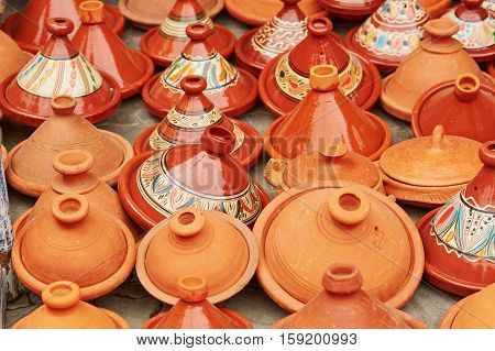 Selection Of Traditional Tajines On Moroccan Market