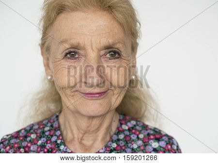 Senior Caucasian Woman Cheerful Portrait Concept