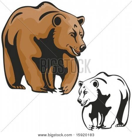 Vector illustration of a brown bear.