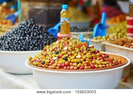 Olives On Moroccan Market (souk) In Essaouira, Morocco