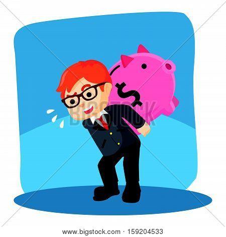 carrying giant piggybank eps10 vector illustration design