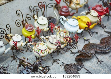 Funny Teapots In Form Of Birds On Moroccan Market
