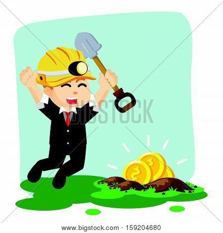found gold when digging eps10 vector illustration design