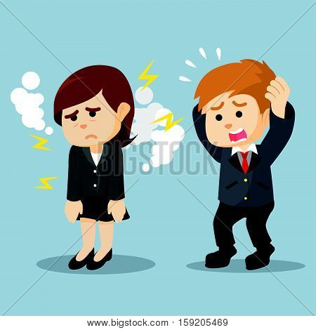 businessman panic saw his girlfriend being tired