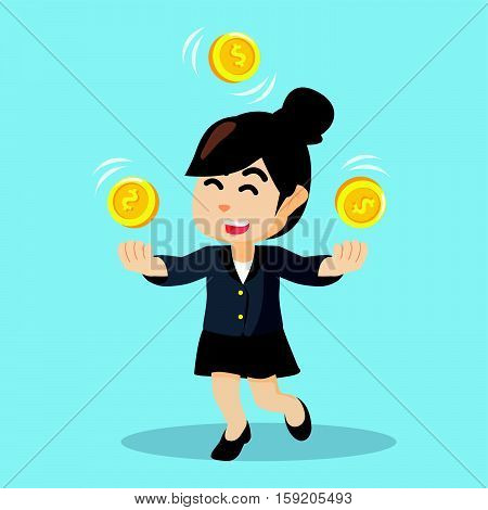 businesswoman juggling with coins eps10 vector illustration design