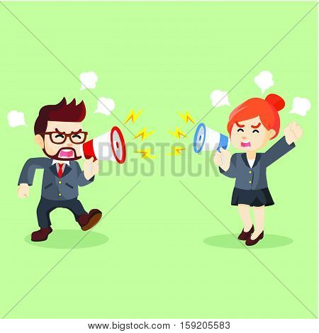 business fighting with using a megaphone illustration design