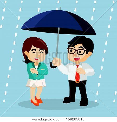 business project under the umbrella of rain