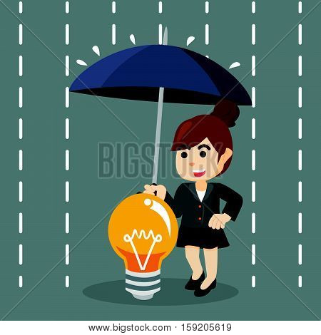 businesswoman protecting her idea from rain illustration design