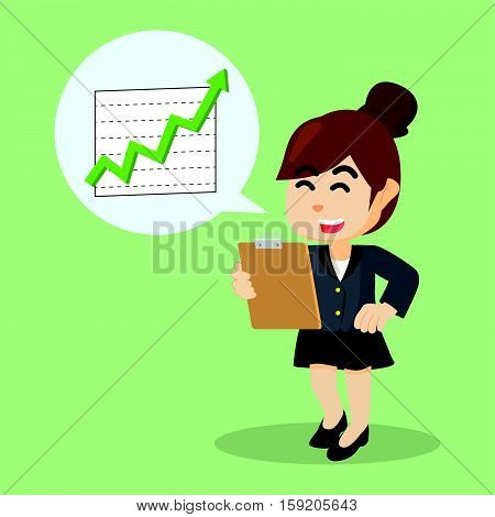 businesswoman happy with increase reportment illustration design