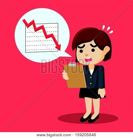 businesswoman shocked with decrease reportment illustration design