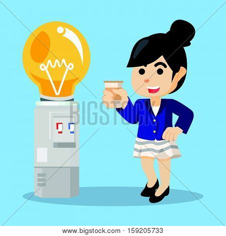 businesswoman taking water from the dispenser bulb