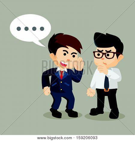 businessman persuade his friend to gossip illustration design