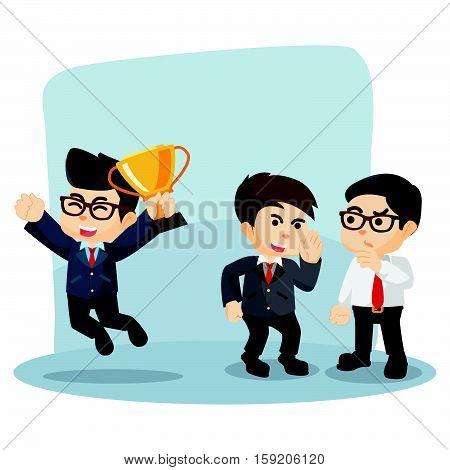 businessman gossiping his successful friend illustration design