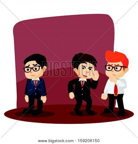 businessman gossiping his friend failure illustration design