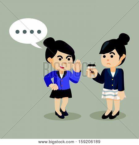 businesswoman persuade her friend to gossip illustration design