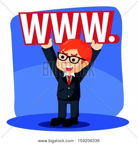 businessman liftting sign word wide web illustration design
