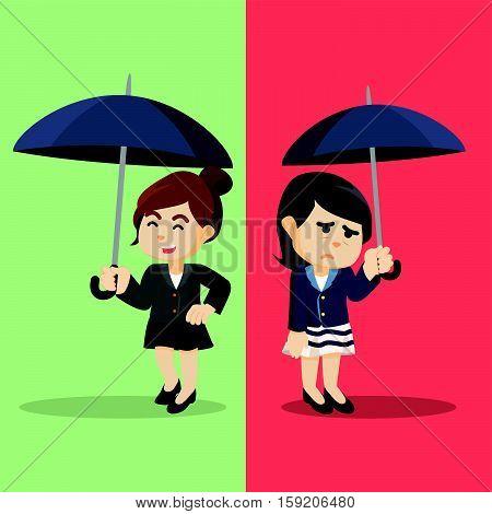 Business woman different emotional life illustration design
