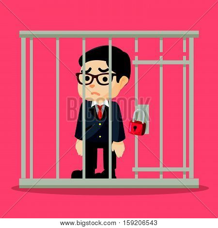 Business man getting jailed eps10 vector illustration design