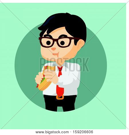 Employee eating hotdog eps10 vector illustration design