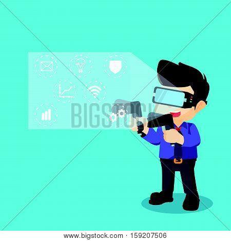 virtual reality technology show eps10 vector illustration design