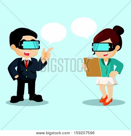 businessman and businesswoman chating with virtual reality