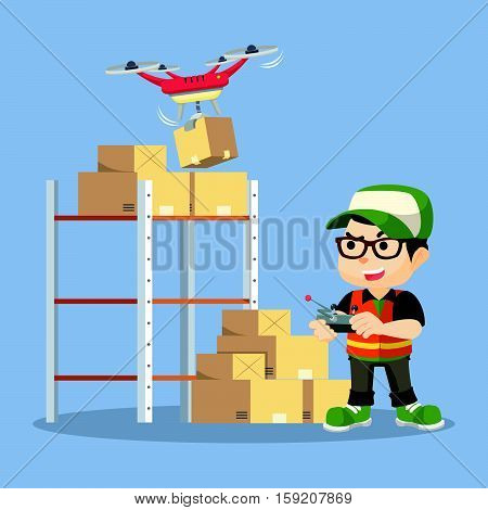 a boy and drone sorting packet illustration design