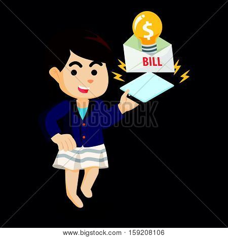 employee playing the electric bill illustration design