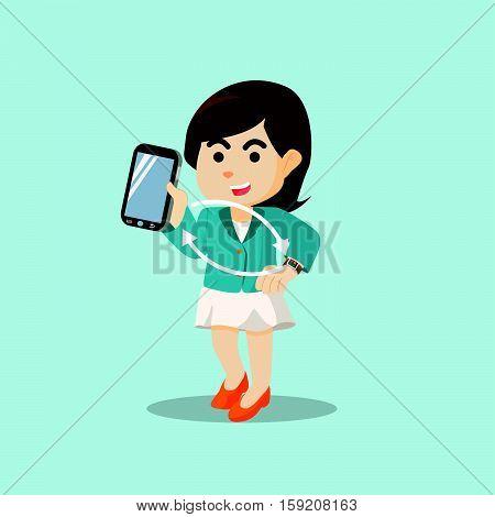 businesswoman synchronization of smartphone and smartwatch illustration design