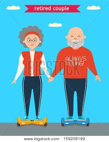Sports elderly man and the woman go for a drive on Giro scooter in park against the dark blue sky and clouds in the summer. Flat Illustration. Vector cartoon character design. Retired couple