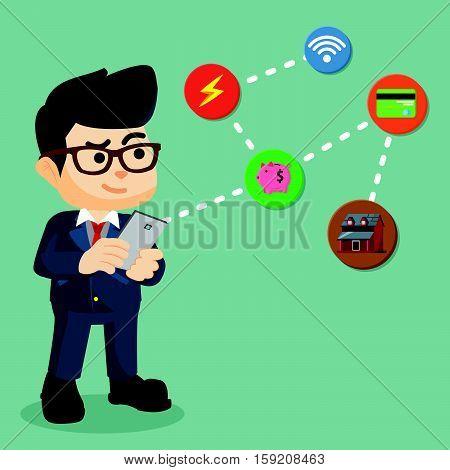 businessman pay multiple bill via mobile illustration design