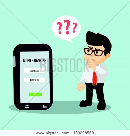 businessman forgot mobile payment password illustration design