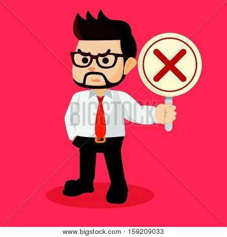 businessman holding wrong sign eps10 vector illustration design
