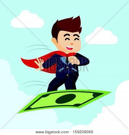 super businessman flying with money illustration design