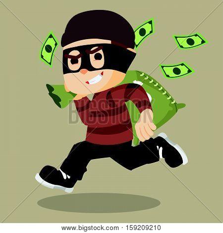 thief running carrying bag of money illustration design