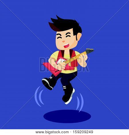 a man rocker jump eps10 vector illustration design