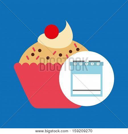 kitchen bakery concept cupcake cherry vector illustration eps 10