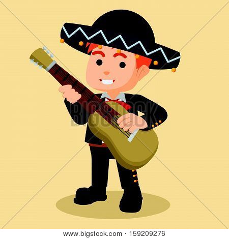 mariachi playing guitar eps10 vector illustration design
