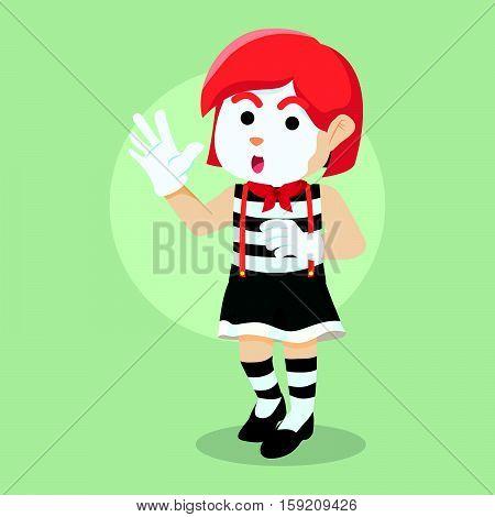 girl pantomime illustration character eps10 vector illustration design