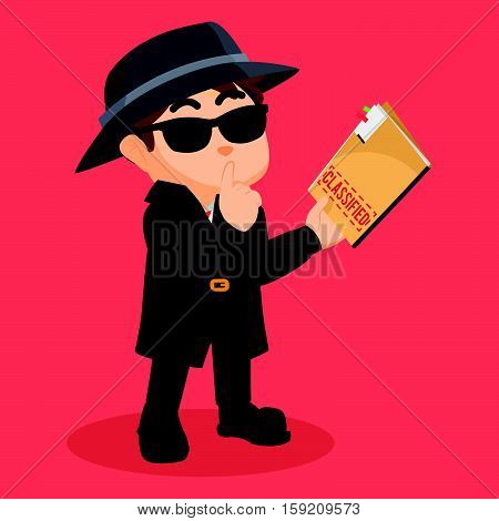 detective holding classified document eps10 vector illustration design